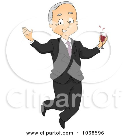 Clipart Retired Businessman Jumping With Wine - Royalty Free Vector Illustration by BNP Design Studio