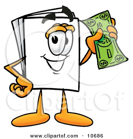 Clipart Picture of a Paper Mascot Cartoon Character Holding a Dollar Bill by Toons4Biz