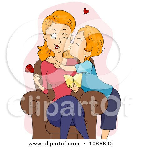 Clipart Son Kissing His Mom On The Cheek - Royalty Free Vector Illustration by BNP Design Studio