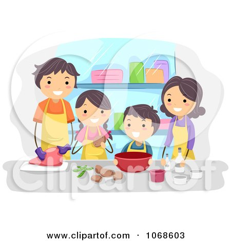 Clipart Family Cooking Together - Royalty Free Vector Illustration by BNP Design Studio