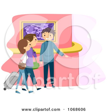 Clipart Hotel Receptionist Greeting People - Royalty Free Vector Illustration by BNP Design Studio