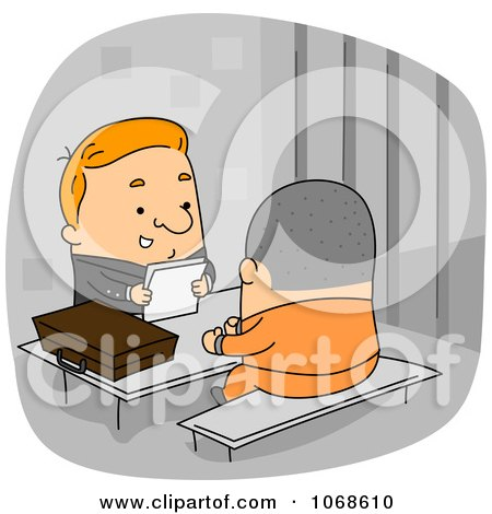 Clipart Lawyer Speaking To A Prisoner Inmate - Royalty Free Vector Illustration by BNP Design Studio