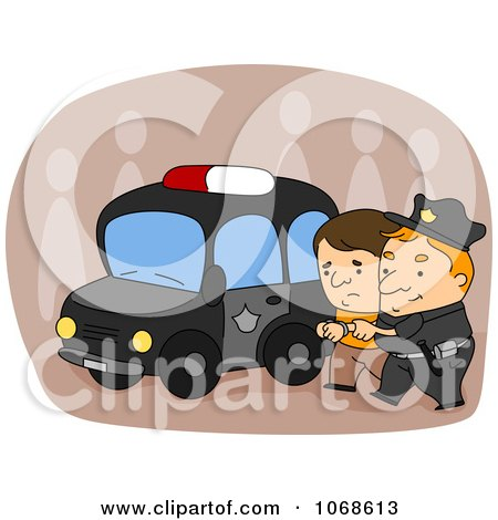 Clipart Officer Arresting A Suspect - Royalty Free Vector Illustration by BNP Design Studio