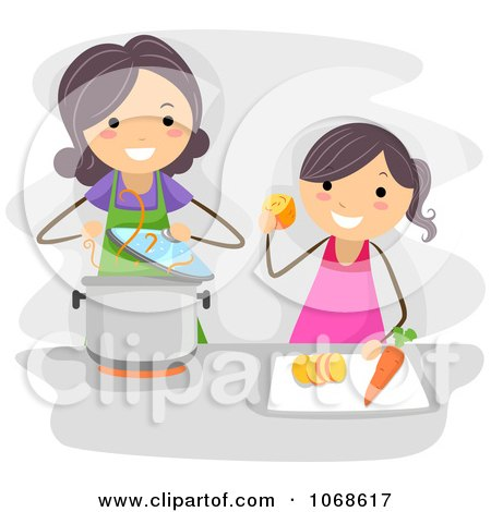 Clipart Mom And Daughter Cooking - Royalty Free Vector Illustration by BNP Design Studio