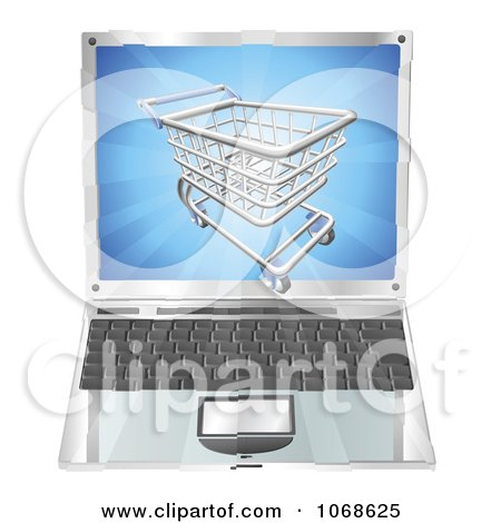 Clipart 3d Shopping Cart Emerging From A Laptop Screen - Royalty Free Vector Illustration by AtStockIllustration