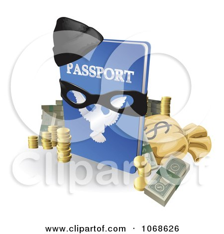 Clipart 3d Stolen Passport With Money A Mask And Hat - Royalty Free Vector Illustration by AtStockIllustration
