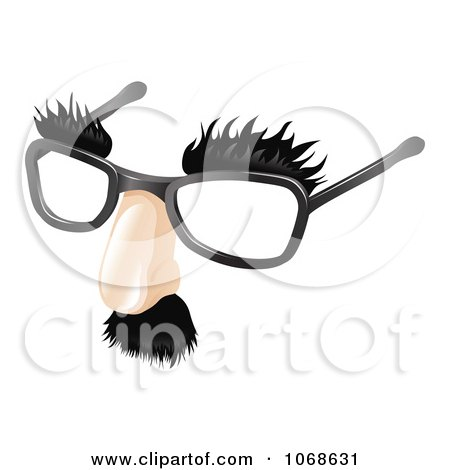 Clipart 3d Moustache Eyebrows And Glasses Disguise - Royalty Free Vector Illustration by AtStockIllustration
