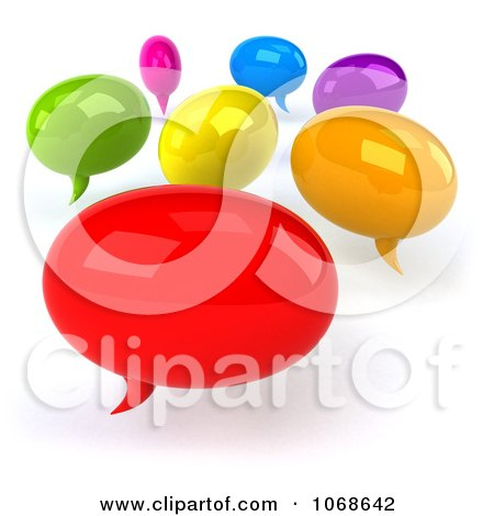 Clipart 3d Colorful Social Networking Balloons - Royalty Free CGI Illustration by Julos