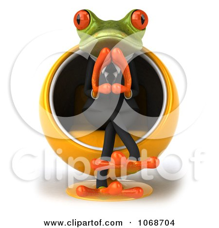 3d Springer Frog Pondering In A Chair 1 Posters, Art Prints