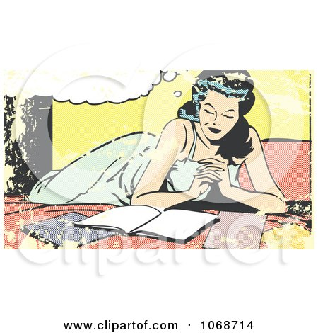 Clipart Grungy Pop Art Woman Reading On A Bed - Royalty Free Vector Illustration by brushingup