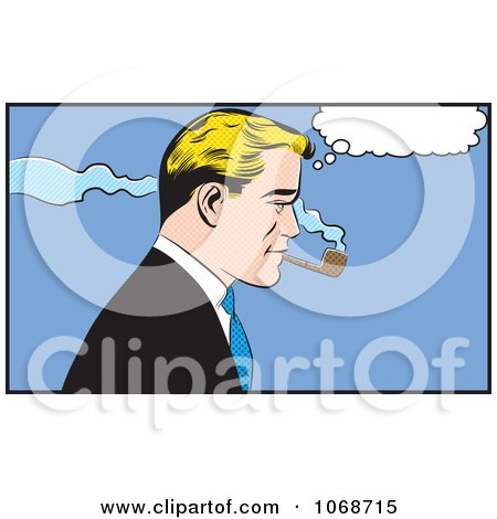 Clipart Pop Art Businessman Smoking A Pipe - Royalty Free Vector Illustration by brushingup