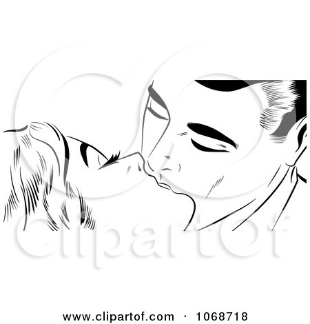 Clipart Pop Art Couple Kissing Black And White - Royalty Free Illustration by brushingup