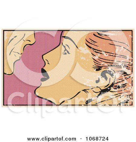 Clipart Grungy Pop Art Couple About To Kiss - Royalty Free Vector Illustration by brushingup
