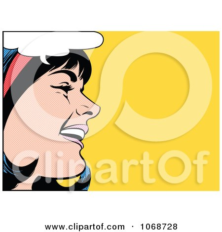 Clipart Pop Art Black Haired Woman Talking 2 - Royalty Free Vector Illustration by brushingup