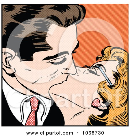 Clipart Pop Art Couple Kissing Over Orange - Royalty Free Vector Illustration by brushingup