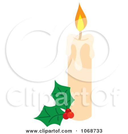 Clipart Christmas Candle And Holly - Royalty Free Vector Illustration by Rosie Piter