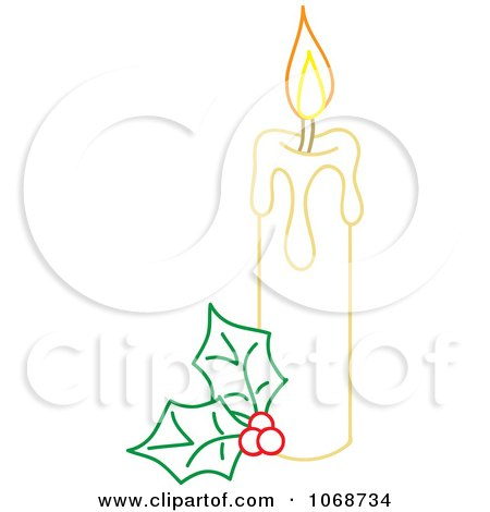 Clipart Christmas Candle And Holly Outline - Royalty Free Vector Illustration by Rosie Piter