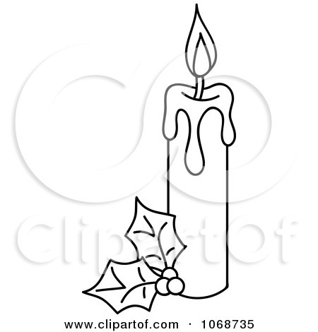 Clipart Outlind Christmas Candle And Holly - Royalty Free Vector Illustration by Rosie Piter