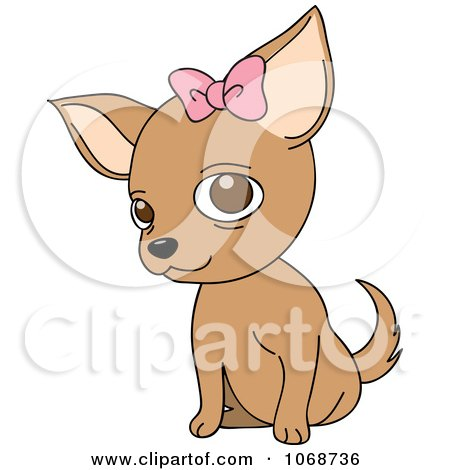Clipart Female Chihuahua With A Bow - Royalty Free Vector Illustration by Rosie Piter