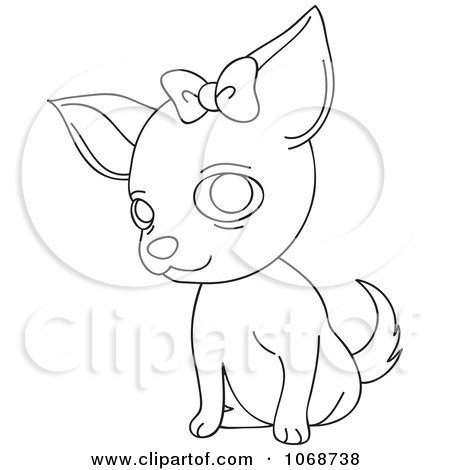Clipart Outlined Female Chihuahua With A Bow - Royalty Free Vector Illustration by Rosie Piter