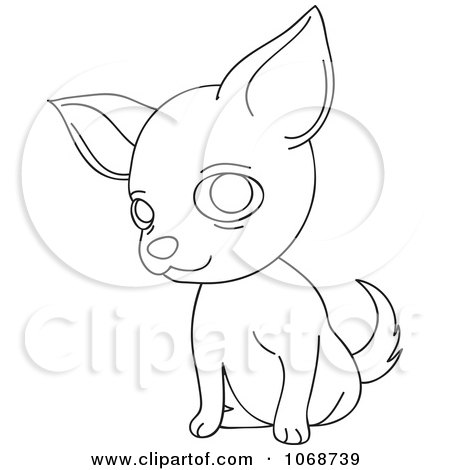 Clipart Outlined Chihuahua Sitting - Royalty Free Vector Illustration by Rosie Piter
