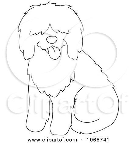 Clipart Outlined Sheepdog Sitting - Royalty Free Vector Illustration by Rosie Piter