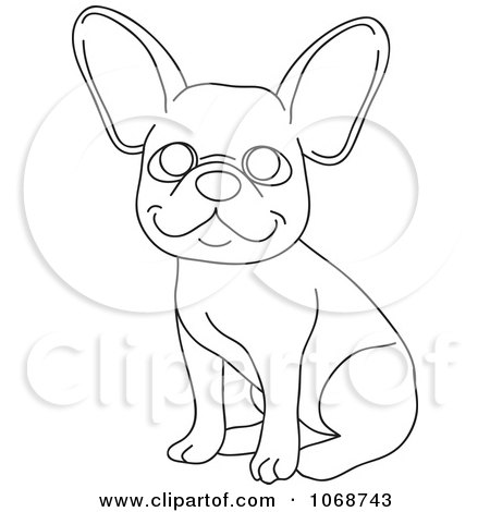Clipart Outlined French Bulldog Sitting - Royalty Free Vector Illustration by Rosie Piter