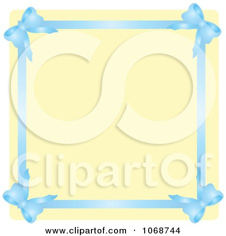 Clipart Blue Ribbon Border And Beige Copyspace - Royalty Free Vector Illustration by Rosie Piter