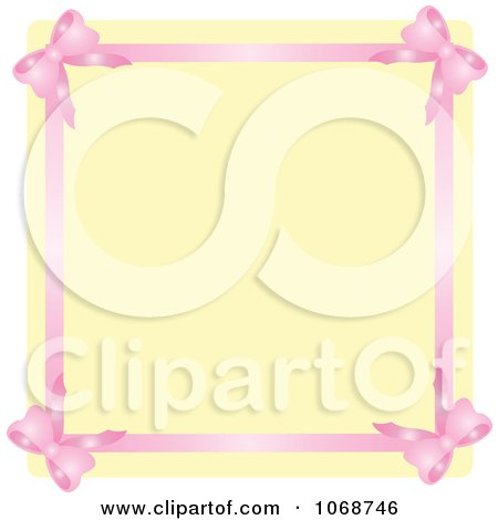 Clipart Pink Ribbon Border And Beige Copyspace - Royalty Free Vector Illustration by Rosie Piter