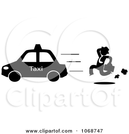 Clipart Businessman Chasing A Taxi Cab - Royalty Free Vector Illustration by Rosie Piter