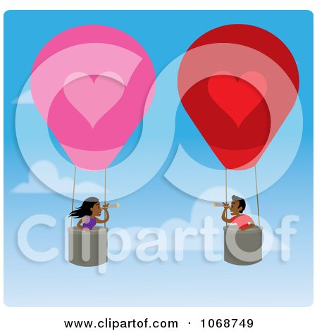 Clipart Boy And Girl Finding Love In Hot Air Balloons - Royalty Free Vector Illustration by Rosie Piter