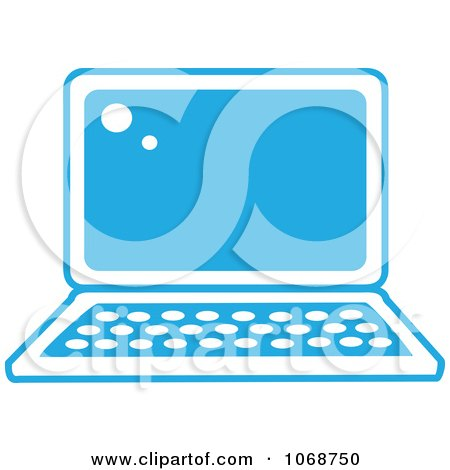 Clipart Blue And White Laptop Icon - Royalty Free Vector Illustration by Rosie Piter