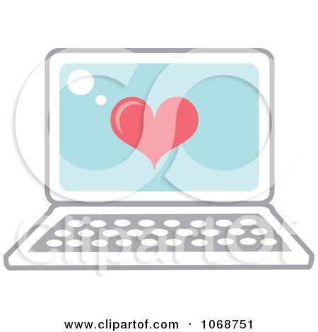 Clipart Heart And Laptop Icon - Royalty Free Vector Illustration by Rosie Piter