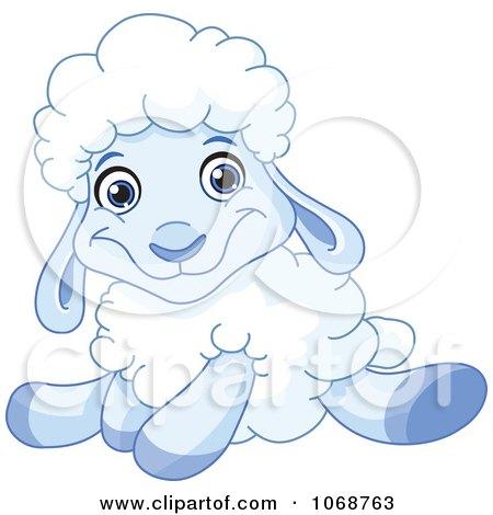 1068763 clipart sitting blue lamb royalty free vector illustration
