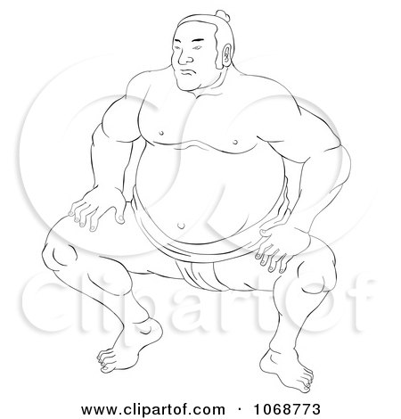 Clipart Sketched Sumo Wrestler 3 - Royalty Free Illustration by patrimonio