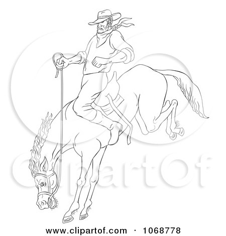 Clipart Sketched Cowboy On A Bucking Bronco - Royalty Free Illustration by patrimonio