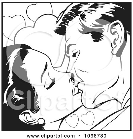 Clipart Pop Art Couple Kissing In Black And White 1 - Royalty Free Vector Illustration by brushingup