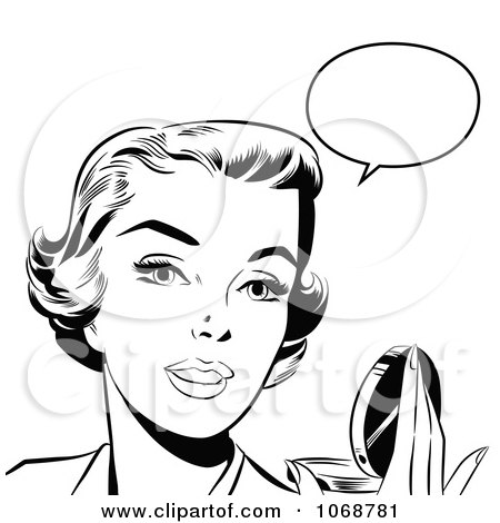 Clipart Pop Art Talking Woman Holding A Compact Black And White - Royalty Free Vector Illustration by brushingup