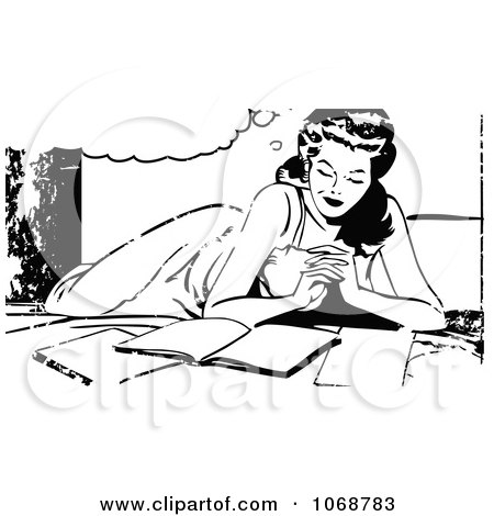 Clipart Reading Pop Art Woman And Grunge Black And White - Royalty Free Vector Illustration by brushingup