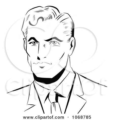 Clipart Pop Art Businessman Black And White - Royalty Free Vector Illustration by brushingup