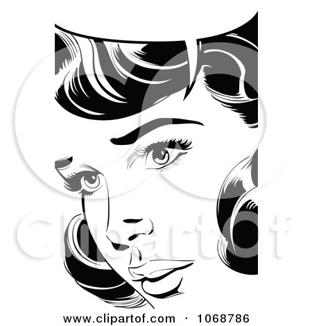 Clipart Pop Art Talking Woman In Black And White 1 - Royalty Free Vector Illustration by brushingup