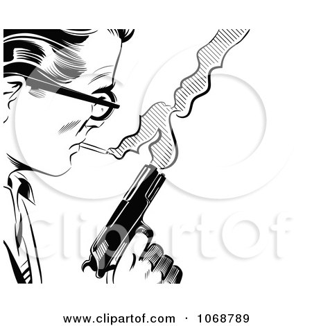 Clipart Pop Art Man With A Cigarette And Gun Black And White - Royalty Free Vector Illustration by brushingup
