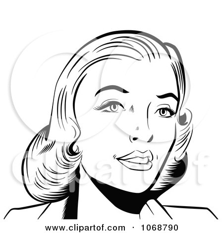 Clipart Pop Art Woman In Black And White - Royalty Free Vector Illustration by brushingup