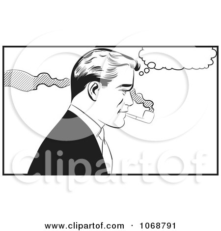 Clipart Pop Art Man Smoking A Pipe Black And White - Royalty Free Vector Illustration by brushingup