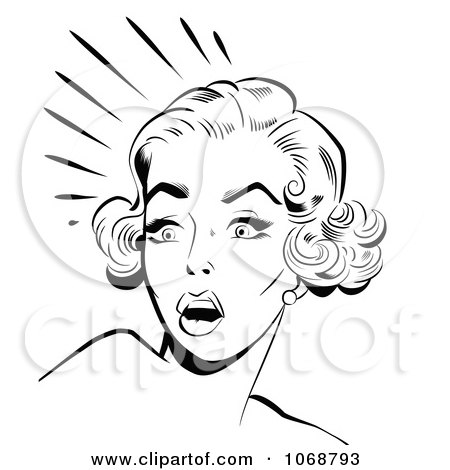 Clipart Scared Pop Art Woman In Black And White - Royalty Free Vector Illustration by brushingup