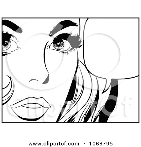 Clipart Pop Art Talking Woman In Black And White 3 - Royalty Free Vector Illustration by brushingup
