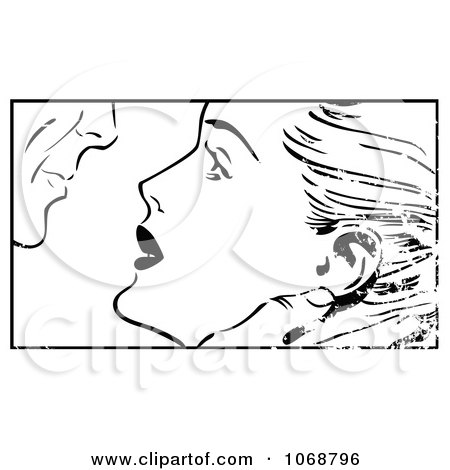 Clipart Grungy Pop Art Couple About To Kiss Black And White - Royalty Free Vector Illustration by brushingup