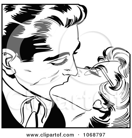 Clipart Pop Art Couple Kissing In Black And White 3 - Royalty Free Vector Illustration by brushingup