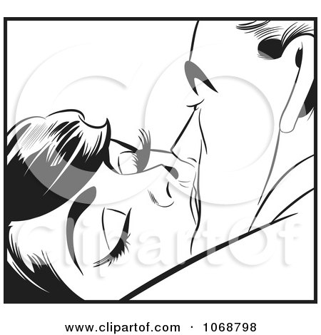 Clipart Pop Art Couple Kissing In Black And White 2 - Royalty Free Vector Illustration by brushingup
