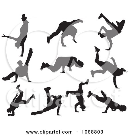 Clipart Black And White Hip Hop B Boy Dancer Silhouettes - Royalty Free Vector Illustration by Paulo Resende